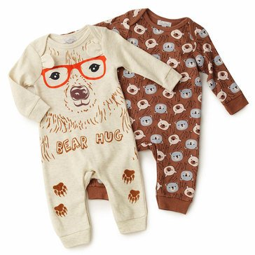 Quiltex Baby Boys' 2-Pack Bear Hug Interlock Coverall