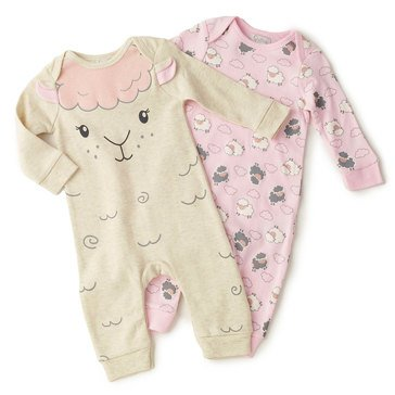 Quiltex Baby Girls' 2-Pack Fluffy Lambie Interlock Coverall