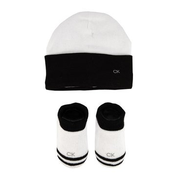 Calvin Klein Baby Boys' Logo Sock and Hat Set