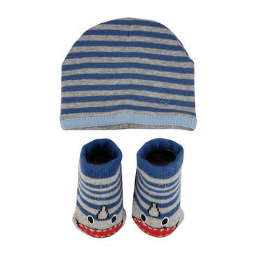 Calvin Klein Baby Boys' Logo Sock and Hat Set, Shark