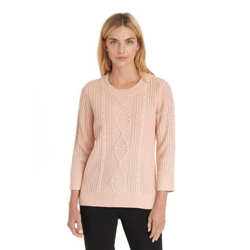 Karl Lagerfeld Women's Cabled Pearl Trim Sweater