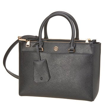 Tory Burch Robinson Small Double Zip Tote Black/Royal Navy