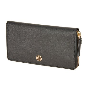 Tory Burch Robinson Zip Continental Wallet Pale Apricot/Royal Navy