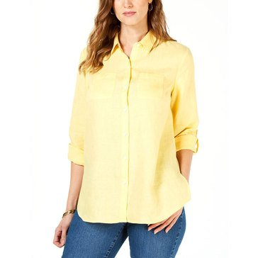 Charter Club Women's Linen Roll Tab Big Shirt