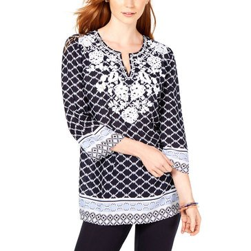 Charter Club Women's Embroidered Rayon Print Tunic