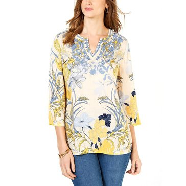 Charter Club Women's Exploded Floral Printed Rayon Tunic