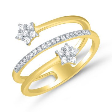 1/5 ct.tw. Diamond Flower Ring, 10K Yellow Gold