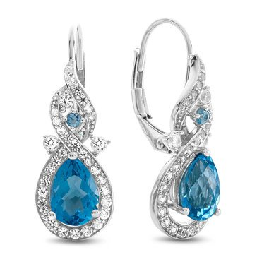 Blue Topaz Earrings, Sterling Silver