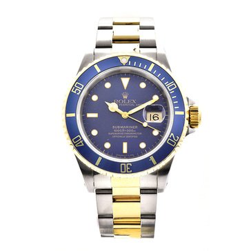 Rolex Men's Submariner Date Stainless Steel Yellow Gold Blue Dial Watch, 40mm