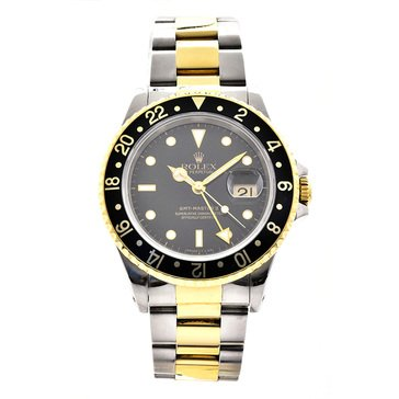 Rolex Men's GMT Master Stainless Steel Yellow Gold Black Dial Watch, 40mm