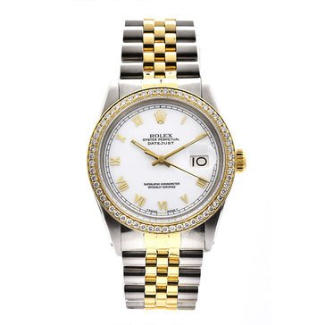 Rolex Men's Datejust Stainless Steel Yellow Gold White Dial Watch, 36mm
