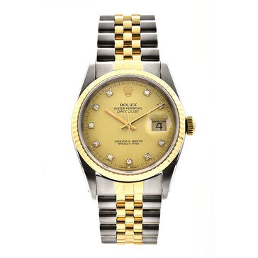 Rolex Men's Datejust Stainless Steel Yellow Gold Factory Diamond Champagne Dial Watch, 36mm