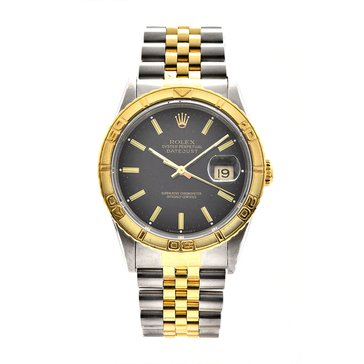 Rolex Men's Datejust Stainless Steel Yellow Gold Black Dial Watch, 36mm