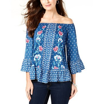 Style & Co Women's Print Mix Peasant Top