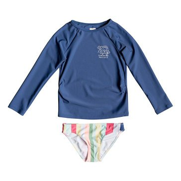 Roxy Little Girls' Paradise Tropics Long Sleeve Rash Guard Set