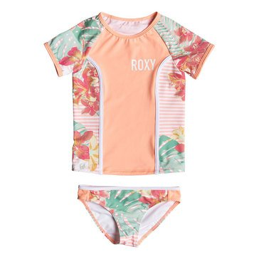 Roxy Little Girls' Lush Florals Rash Guard Set