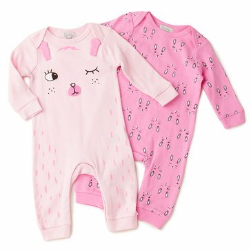 Quiltex Baby Girls' 2-Pack Cute Bunny Coverall