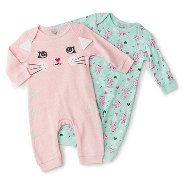 Quiltex Baby Girls' 2-Pack Dancing Kitty Coverall