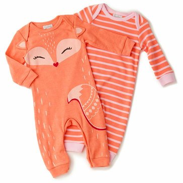Quiltex Baby Girls' 2-Pack Little Foxy Coverall