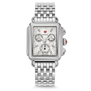 Michele Women's Deco Stainless Diamond Watch, 33mm