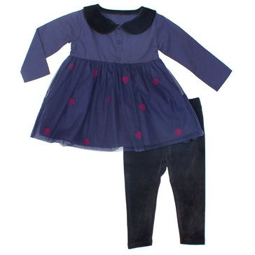 Rosie Pope Baby Girls' 2-Piece Velvet Collar Dress/Velvet Pant Set