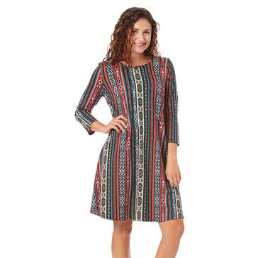 Yarn & Sea Women's Breaker Aztec Swing Dress Plus Sizing