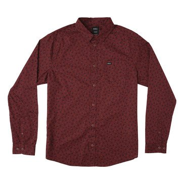 Rvca Men's Vu Printed Long Sleeve Woven Shirt