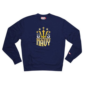 Valor Men's Tradition USN Trident Metallic Welded Design Fleece Crew