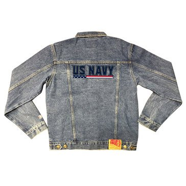 Valor Men's Tradition Felt Faux Applique USN Flag Denim Jacket