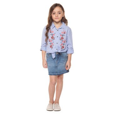 DEX Big Girls' Blue Stripe Pink Embroidered Top