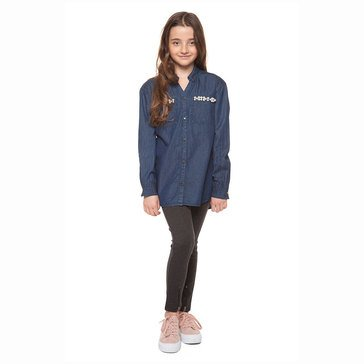 DEX Big Girls' Faded Denim Blue Shirt