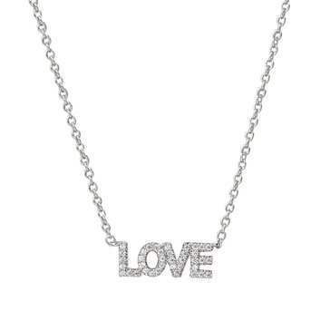 Nadri V-Day Love Necklace, Rhodium Plated