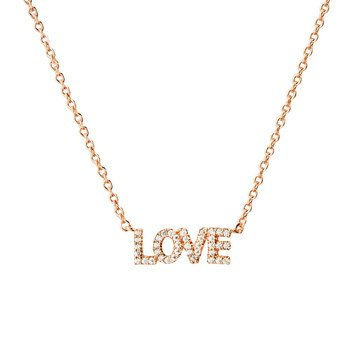 Nadri V-Day Love Necklace, Rose Gold Tone