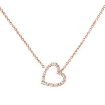 Nadri V-Day Open Pave Heart Necklace, Rose Gold Tone