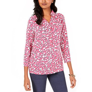 Charter Club Women's Floral Printed 3/4 Sleeve Polo