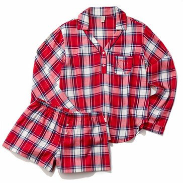 Ellen DeGeneres Women's 3/4 Sleeve Flannel Plaid Pjs