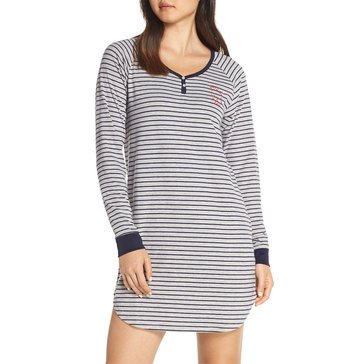Ellen DeGeneres Women's Long Sleeve Cuddle Up Knit Striped Sleepshirt