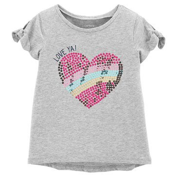 Carters Toddler Girls Short Sleeve Tie Sleeve Love Ya Glitter Tee