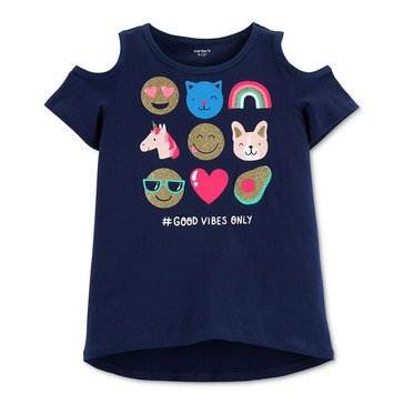 Carters Little Girls Short Sleeve Cold Shoulder Emoji Tee