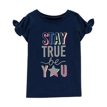 Carters Little Girls Short Sleeve Tie Sleeve Stay Tru Tee