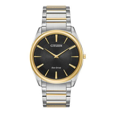 Citizen Men's Eco Drive Stiletto Stainless Steel Two-Tone Gold Silver Bracelet Watch, 38mm