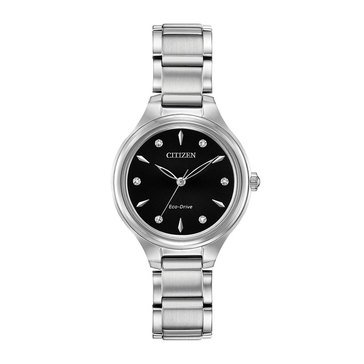 Citizen Women's Eco Drive Corso Black Dial Stainless Steel Silver Tone Bracelet Watch, 29mm