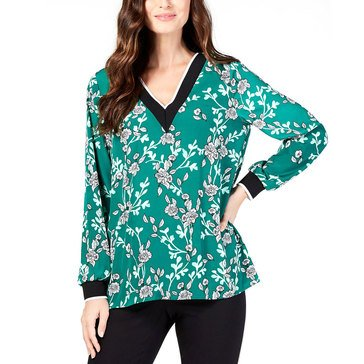 Alfani Women's Floral V-Neck Rib Trimmed Top
