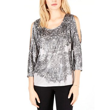 I.N.C. International Concepts Women's Lace Print Dolman Sleeve Top