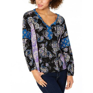 Style & Co Women's Splitneck Printed Top