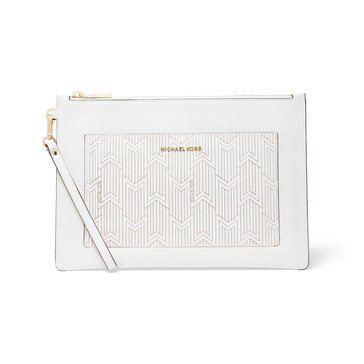 Michael Kors Large Pocket Zip Pouch Optic White