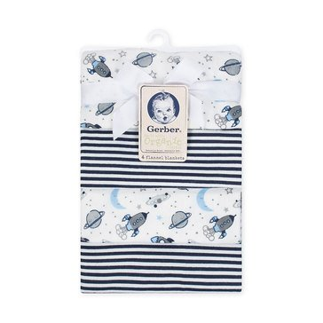 Gerber Organic 4-Pack Flannel Blanket Outerspace and Stripe