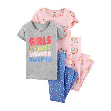 Carter's Little Girls' 4-Piece Rainbow Print Pajama Set