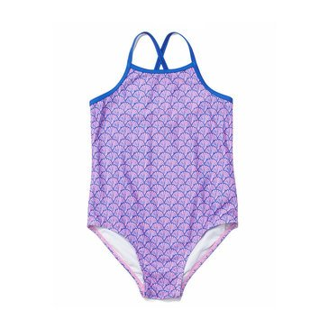 Yarn & Sea Big Girls' Bathing Suit, Seashell Print