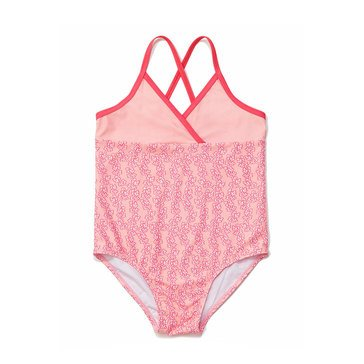 Yarn & Sea Big Girls' Bathing Suit, Coral Print